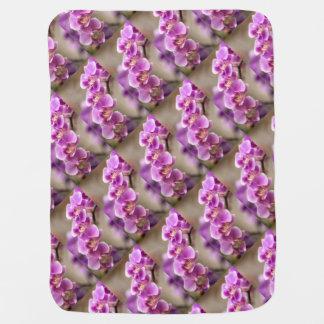 Deep Pink Phalaenopsis Orchid Flower Chain Baby Blanket