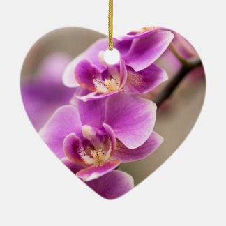 Deep Pink Phalaenopsis Orchid Flower Chain Ceramic Ornament
