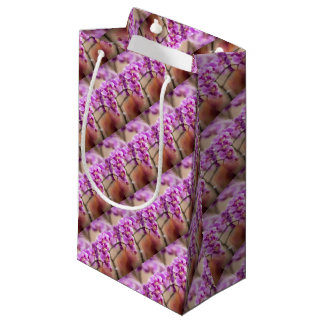 Deep Pink Phalaenopsis Orchid Flower Chain Small Gift Bag