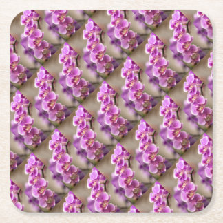 Deep Pink Phalaenopsis Orchid Flower Chain Square Paper Coaster