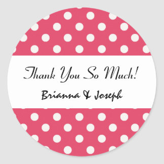 Deep Pink Polka Dots Wedding Collection Round Sticker