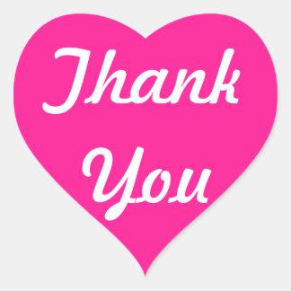 Deep Pink Thank You Heart Sticker