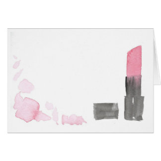 Deep Pink Watercolor Lipstick Note Card