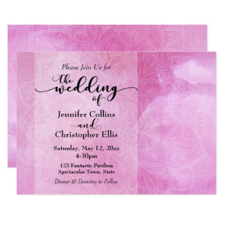 Deep Pink Watercolor Mandala Wedding Invitation