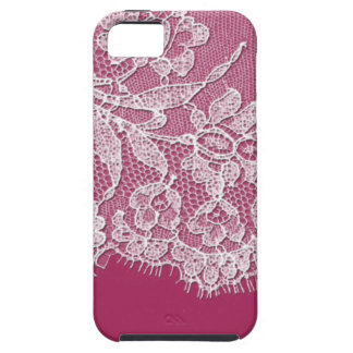 Deep Pink with White Lace iPhone 5 Cover
