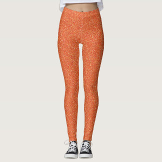 Deep Pumpkin Orange Faux Glitter Leggings