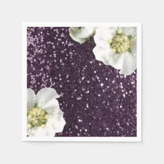 Deep Purple Amethyst  Jasmine Glitter Sequin Napkin