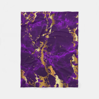 Deep Purple and Gold Marble Fleece Blanket