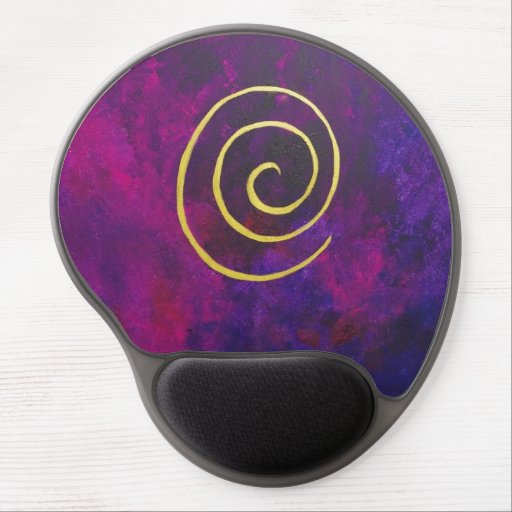 Deep Purple And Gold Modern Abstract Art Painting Gel Mouse Mats