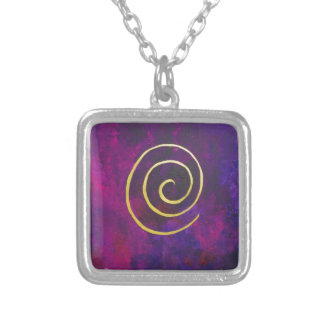 Deep Purple And Gold Modern Abstract Art Painting Silver Plated Necklace