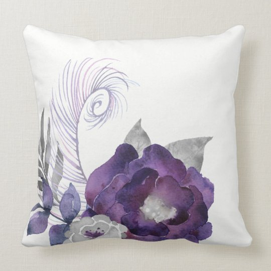 Deep Purple and Silver Floral Group With Feather Throw Pillow