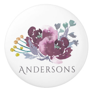 DEEP PURPLE, AQUA BLUE WATERCOLOUR FLORAL MONOGRAM CERAMIC KNOB