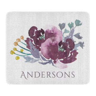 DEEP PURPLE, AQUA BLUE WATERCOLOUR FLORAL MONOGRAM CUTTING BOARD