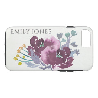 DEEP PURPLE, AQUA BLUE WATERCOLOUR FLORAL MONOGRAM iPhone 8/7 CASE