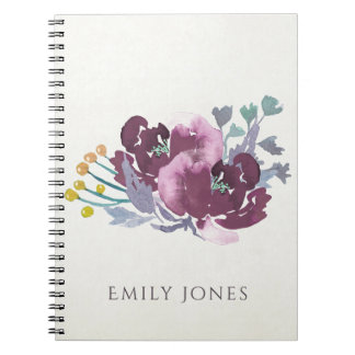 DEEP PURPLE, AQUA BLUE WATERCOLOUR FLORAL MONOGRAM NOTEBOOK