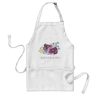 DEEP PURPLE, AQUA BLUE WATERCOLOUR FLORAL MONOGRAM STANDARD APRON