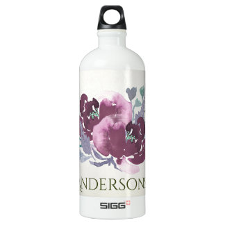 DEEP PURPLE, AQUA BLUE WATERCOLOUR FLORAL MONOGRAM WATER BOTTLE