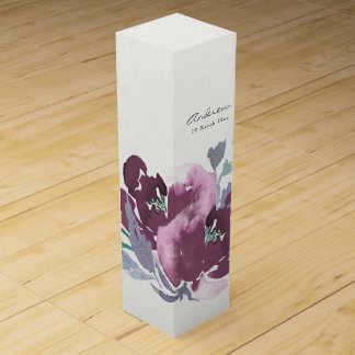 DEEP PURPLE, AQUA BLUE WATERCOLOUR FLORAL MONOGRAM WINE GIFT BOX