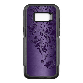 Deep Purple Background & Girly Floral Lace Edge OtterBox Commuter Samsung Galaxy S8+ Case