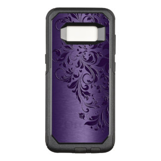 Deep Purple Background & Girly Floral Lace OtterBox Commuter Samsung Galaxy S8 Case