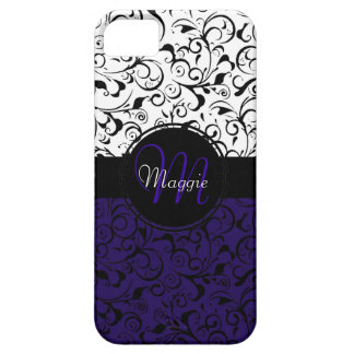 Deep purple black white damask iphone 5 case
