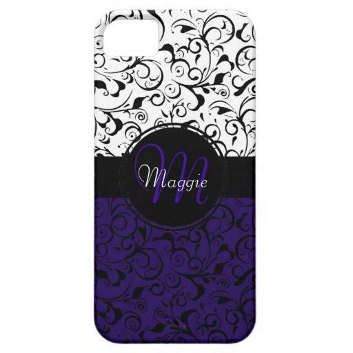 Deep purple black white damask iphone 5 case