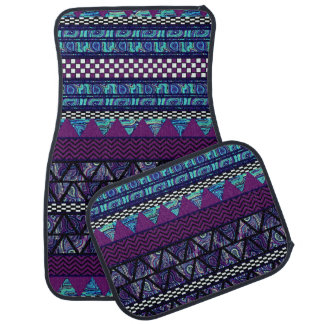 Deep Purple Blue Boho Tribal Stripes Aztec Pattern Car Floor Carpet