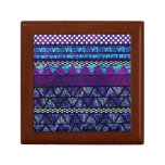 Deep Purple Boho Tribal Stripes Pattern Keepsake Boxes