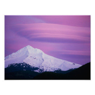 Deep purple clouds surround Mount Hood, in Poster