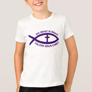 Deep Purple Fish Symbol With Cross Kids Apparel T-Shirt