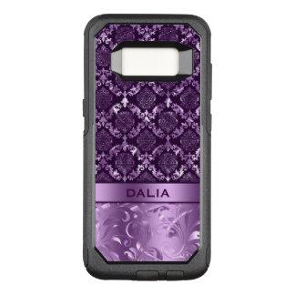Deep Purple Floral Damask Metallic Texture OtterBox Commuter Samsung Galaxy S8 Case
