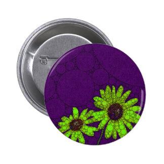 Deep Purple Florescent Sunflowers 2 Inch Round Button