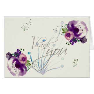 Deep Purple Flowers |Calligraphy Script Thank You Card