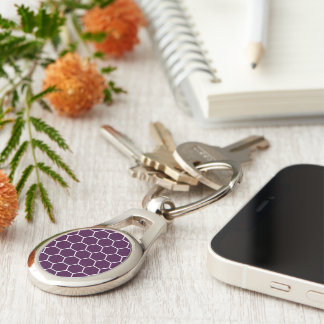 Deep Purple Geometric Honeycomb Hexagon Pattern Silver-Colored Oval Keychain
