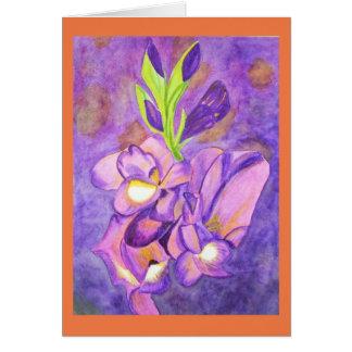 Deep purple gladiolas watercolor card