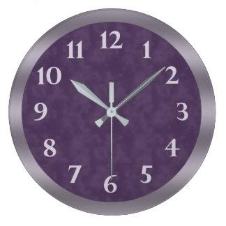 Deep Purple Lavender Gray Large Clock