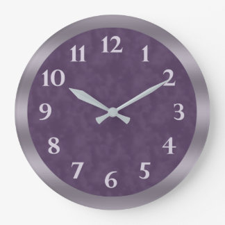Deep Purple Lavender Grey Large Clock