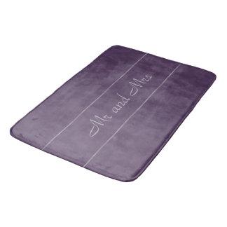 Deep Purple Lavender Grey Stripe Bath Mat