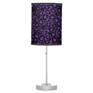 Deep Purple Leopard Animal Print Table Lamp