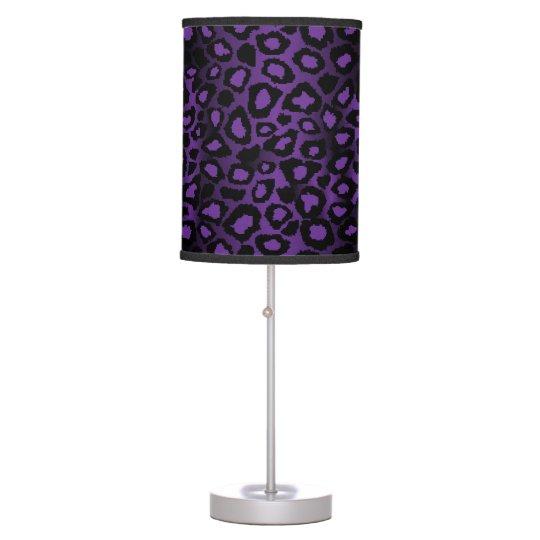 Deep Purple Leopard Animal Print Table Lamps