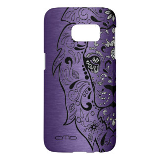 Deep Purple Metallic Texture Lion Sugar Skul Samsung Galaxy S7 Case
