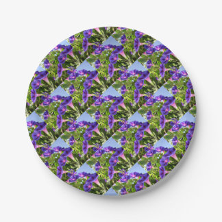 Deep Purple Morning Glory Climbing Plant 7 Inch Paper Plate