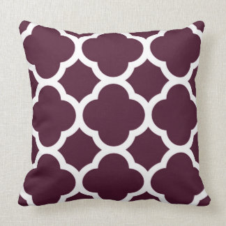 Deep Purple Moroccan lattice Large Quatrefoil Throw Pillows