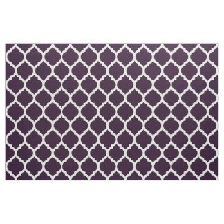 Deep Purple Moroccan Quatrefoil Pattern Fabric