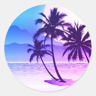 Deep Purple Palms on Beach Round Stickers