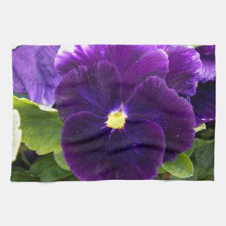 Deep Purple Pansies On Bush, Kitchen Towel