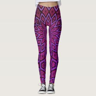 Deep Purple & Pink Aztec Leggings