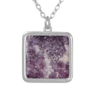 Deep Purple Quartz Crystal Silver Plated Necklace