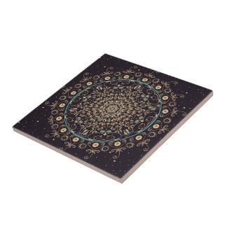 Deep Purple Sky  Mandala Ceramic Art Tile