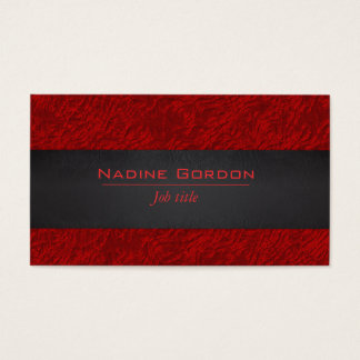 Deep red and black leather business card